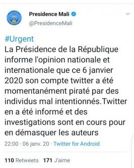 Mali: Les Etats-Unis, un « Etat voyou », la présidence dénonce le piratage de son  compte Twitter