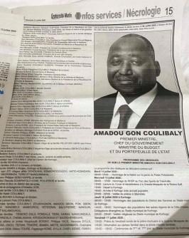 Côte d'Ivoire :  Abidjan, pendant qu'on annonce sa démission, le nom du Vice-président ne figure pas sur le «faire part » du décès de Amadou Gon Coulibaly