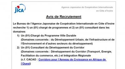 Avis de recrutement de l'Agence Japonaise de Coopération Internationale en Côte d'Ivoire (JICA)