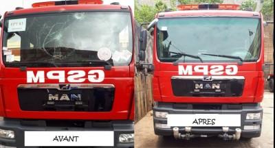 Côte d'Ivoire : L'engin des pompiers vandalisé par les « casseurs » à Yopougon réparé et à nouveau opérationnel