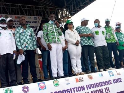 Côte d'Ivoire : À son meeting de Yopougon délocalisé à Attecoubé, l'opposition demande à ses militants de se tenir prêts pour la phase active de la désobéissance civile