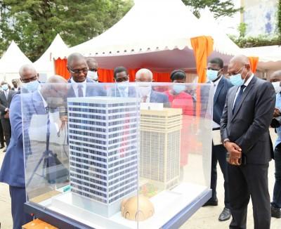 Côte d'Ivoire : Plateau, cité financière, lancement des travaux du bâtiment annexe de la Tour F, coût de réalisation, 14,3 milliards de FCFA