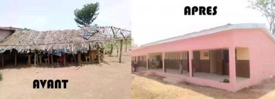 Côte d'Ivoire : Diabo, recevant des bâtiments neufs des mains du DG du trésor, l'espo...