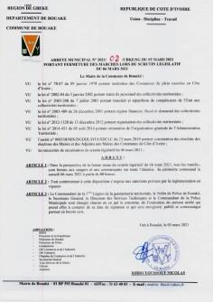 Côte d'Ivoire : Bouaké, pour « la   bonne tenue du scrutin législatif », tous les marchés fermés par le maire