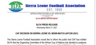 Sierra Leone :  Appel de la SLFA sur le report du match Sierra Leone-Bénin