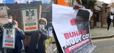 Nigeria :  Manifestations pro et anti contrôle médical de Buhari à Londres