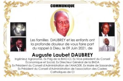 Côte d'Ivoire : Annonce Officielle du Décès Auguste Laubet DAUBREY et Programmes des obsèques