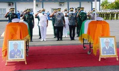 Côte d'Ivoire : Crash de l'hélicoptère Mi 24, un hommage rendu aux deux éléments des...