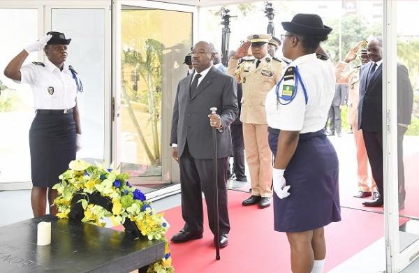 Gabon: Fête du 17 aout 2019, dépôt de gerbe au mausolée Léon Mba et discours du président Al...