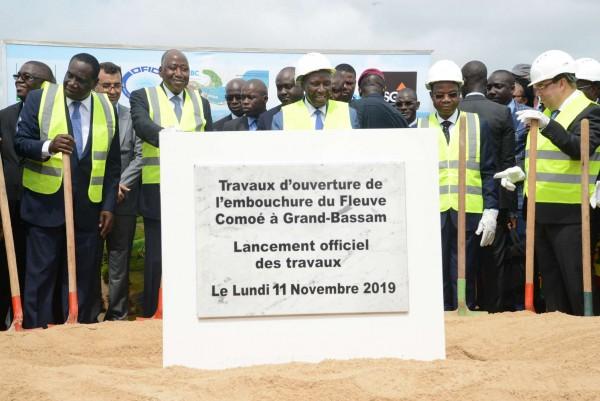 Côte d'Ivoire: A Bassam, lancement des travaux de l'ouverture de l'embouchure du fleuve Comoé, 22 mois pour finaliser le projet