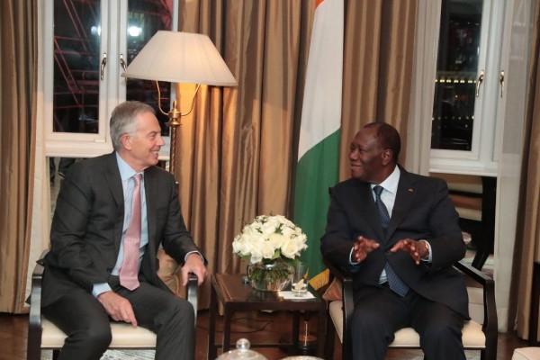 Côte d'Ivoire-UK: A Londres, Alassane Ouattara s'entretient avec Tony Blair et le président...