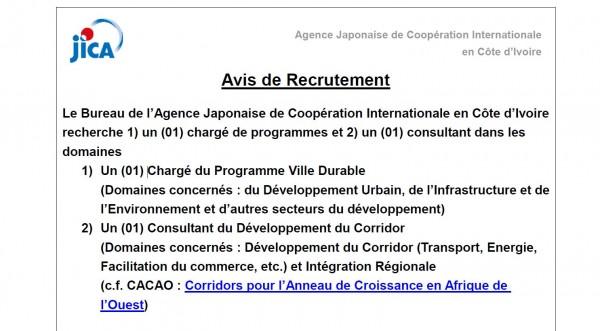 Avis de recrutement de l'Agence Japonaise de Coopération Internationale en Côte d'Ivoire (JI...