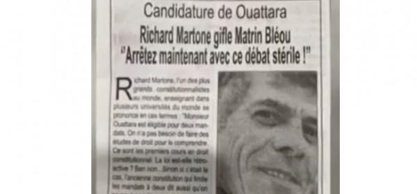 Côte d'Ivoire : Débat sur la candidature de Ouattara,  des députés RHDP  et le  Constitutionnaliste internationaliste  fantôme Richard Martone