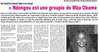 TRIBUNE GABON : «Ndougou est une groupie de Mba Obame...  Ennemi de de la République»