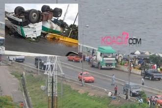Côte d'Ivoire : Nouvel accident sur le pont FHB, un camion d'huile de palme se renverse !