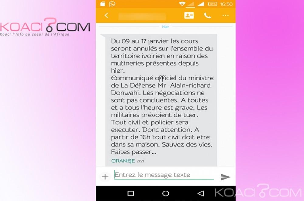 Côte d'Ivoire: Le Ministère de la Défense dément la diffusion anarchique d'un sms semant la peur au sein de la population