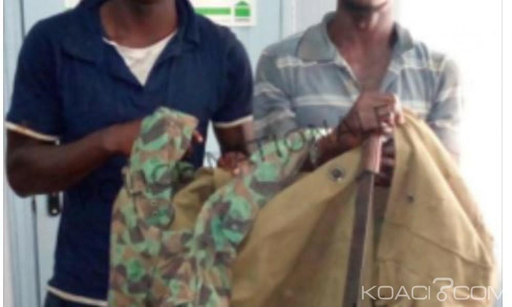 Côte d'Ivoire: Deux ex-démobilisés interpellés  en possession de treillis militaire et des armes blanches