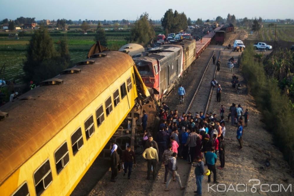Egypte:  10 morts et 15 blessés  dans la collision entre deux trains  dans le nord