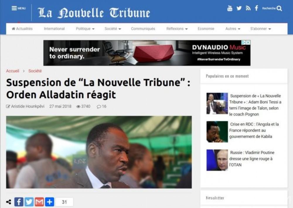 Bénin:  Après sa suspension, les comptes bancaires du journal «Nouvelle tribune» bloqués