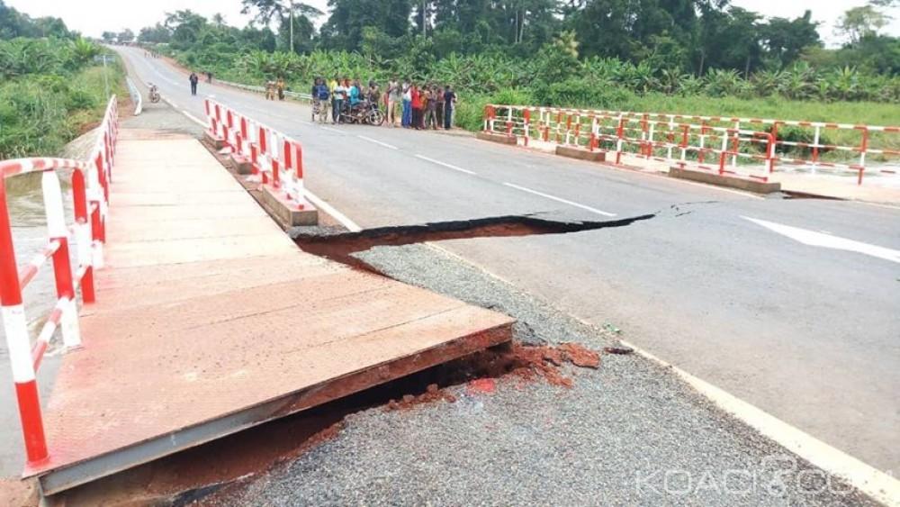 Côte d'Ivoire: Le nouveau pont reliant l'axe Akoupé-Abongoua a cédé sous la pression des eaux