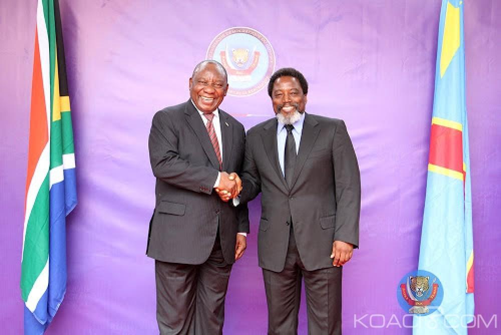 RDC-Afrique du sud: Cyril Ramaphosa de passage à Kinshasa félicite Kabila d'avoir honoré sa parole