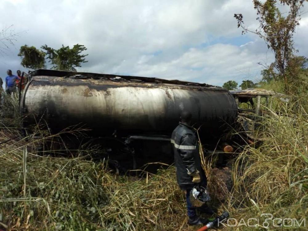 Côte d'Ivoire : Un camion-citerne fait une sortie de route et prend feu sur l'axe Tiassalé-Hermankono, plus de peur que de mal
