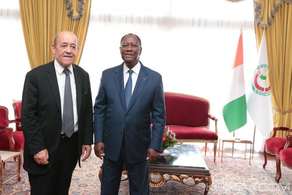 Côte d'Ivoire-France : Ouattara et Le Drian font un tour d'horizon des actualités de leurs pays respectifs, le cas Gbagbo pas évoqué