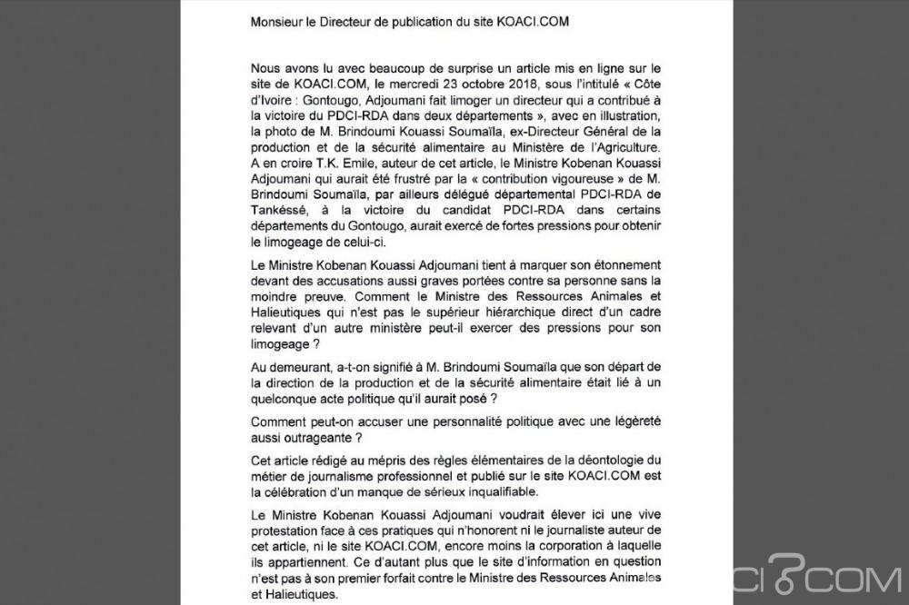 Côte d'Ivoire: Affaire directeur limogé, droit de réponse d'Adjoumani