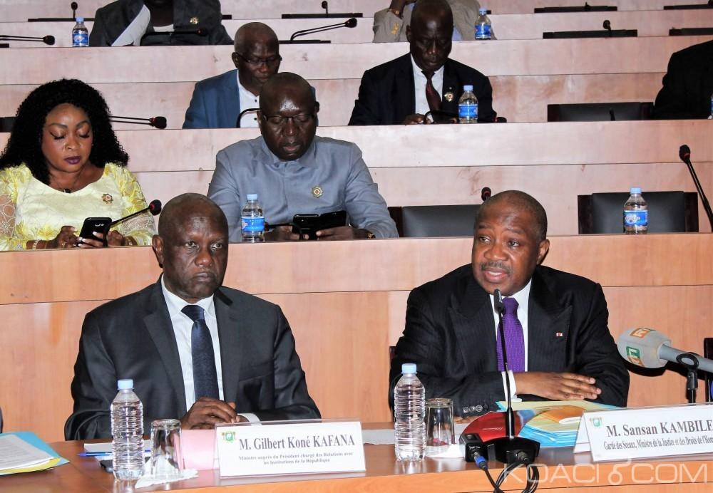 Côte d'Ivoire : La CAGI adopte quatre projets de lois présentés par ministre de la Justice