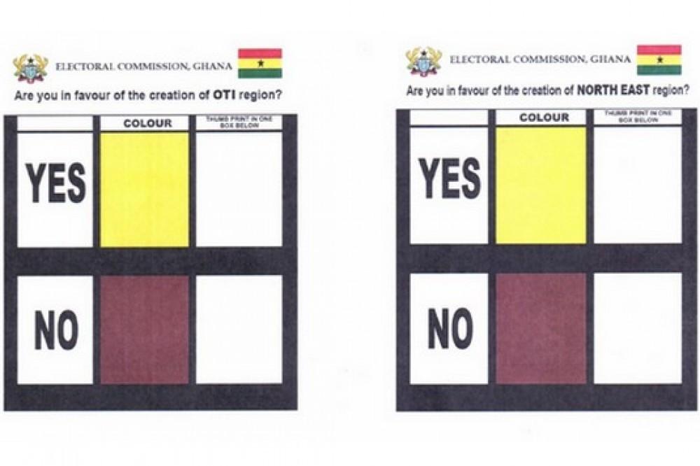 Ghana : Référendum pour les six nouvelles régions, dévoilement du bulletin de vote