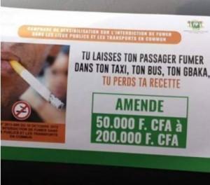 Côte d'Ivoire : Fumer  dans les lieux public et transports,  le propriétaire ou le  conducteur payera  une amende comprise entre 50 000 et 200 000 FCFA